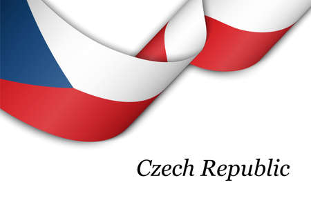 Waving ribbon or banner with flag of Czech Republic. Template for independence day poster design 向量圖像