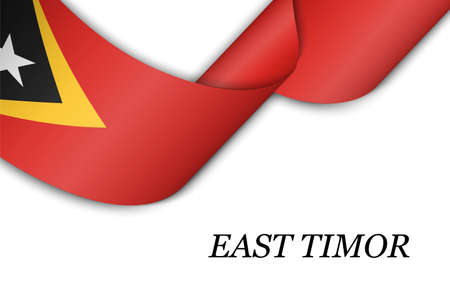 Waving ribbon or banner with flag of East Timor. Template for independence day poster design