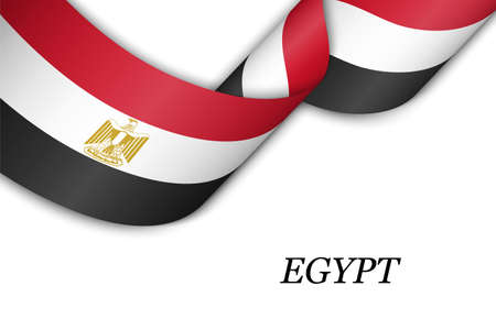 Waving ribbon or banner with flag of Egypt. Template for independence day poster design