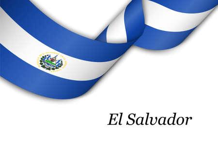 Waving ribbon or banner with flag of El Salvador. Template for independence day poster design Illusztráció