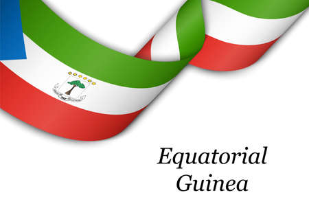 Waving ribbon or banner with flag of Equatorial Guinea. Template for independence day poster design