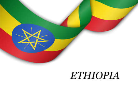 Waving ribbon or banner with flag of Ethiopia. Template for independence day poster design Illusztráció
