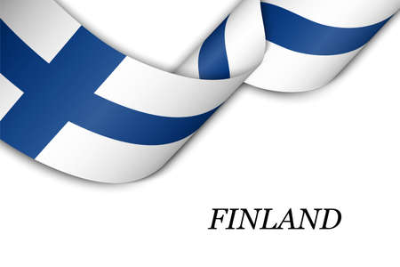 Waving ribbon or banner with flag of Finland. Template for independence day poster design Illusztráció