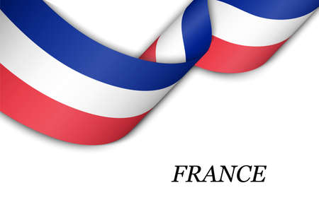 Waving ribbon or banner with flag of France. Template for independence day poster design