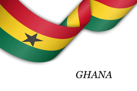 Waving ribbon or banner with flag of Ghana. Template for independence day poster design