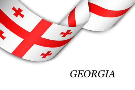 Waving ribbon or banner with flag of Georgia. Template for independence day poster design Illusztráció