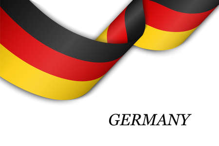 Waving ribbon or banner with flag of Germany. Template for independence day poster design Illusztráció
