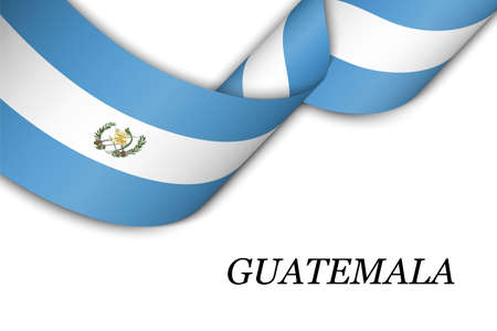 Waving ribbon or banner with flag of Guatemala. Template for independence day poster design