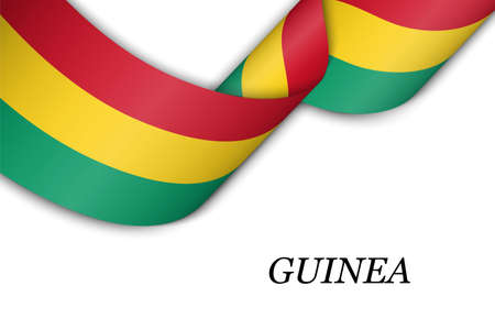 Waving ribbon or banner with flag of Guinea. Template for independence day poster design Illusztráció