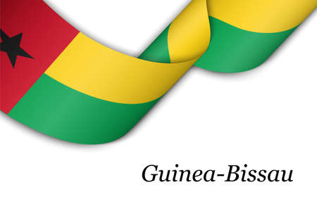 Waving ribbon or banner with flag of Guinea-Bissau. Template for independence day poster design