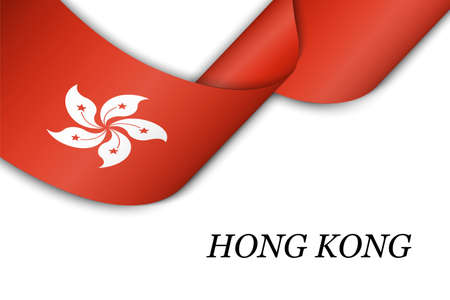 Waving ribbon or banner with flag of Hong Kong. Template for independence day poster design