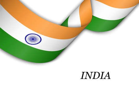 Waving ribbon or banner with flag of India. Template for independence day poster design