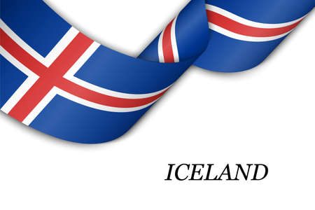 Waving ribbon or banner with flag of Iceland. Template for independence day poster design Illusztráció