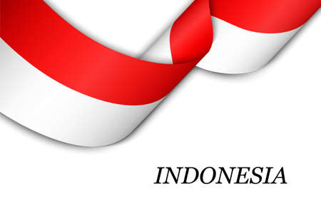 Waving ribbon or banner with flag of Indonesia. Template for independence day poster design Illusztráció