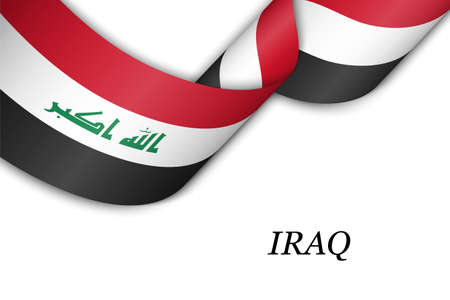 Waving ribbon or banner with flag of Iraq. Template for independence day poster design