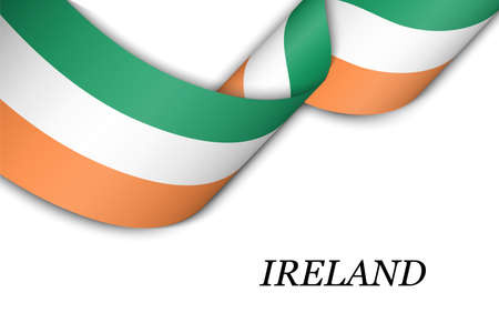 Waving ribbon or banner with flag of Ireland. Template for independence day poster design