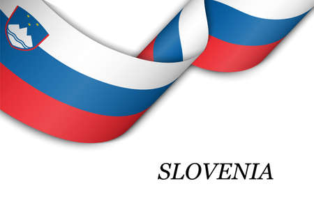 Waving ribbon or banner with flag of Slovenia. Template for independence day poster design