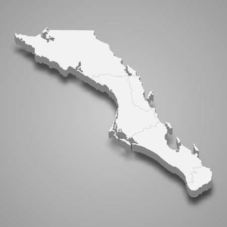 3d map of Baja California Sur is a state of Mexico, vector illustration Ilustración de vector