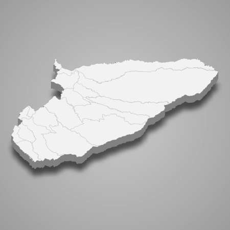 3d map of Casanare is a department of Colombia, vector illustration