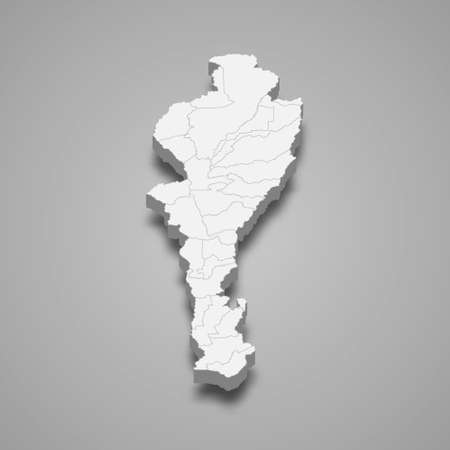 3d map of Cesar is a department of Colombia, vector illustration Ilustração