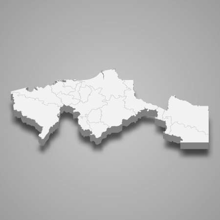3d map of Tabasco is a state of Mexico, vector illustration