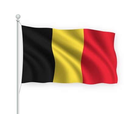3d waving flag Belgium on flagpole Isolated on white background.