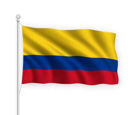 3d waving flag Colombia on flagpole Isolated on white background.