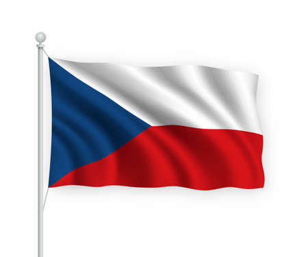 3d waving flag Czech Republic on flagpole Isolated on white background.