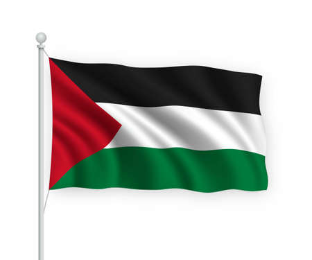 3d waving flag Palestine on flagpole Isolated on white background.