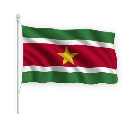 3d waving flag Suriname on flagpole Isolated on white background.