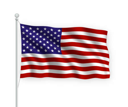 3d waving flag United States on flagpole Isolated on white background. Vector Illustratie