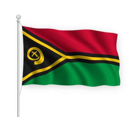 3d waving flag Vanuatu on flagpole Isolated on white background.