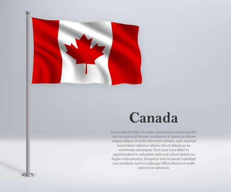 Waving flag of Canada on flagpole. Template for independence day poster design