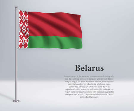 Waving flag of Belarus on flagpole. Template for independence day poster design