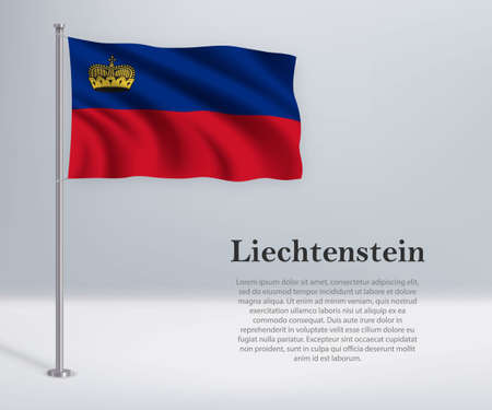 Waving flag of Liechtenstein on flagpole. Template for independence day poster design