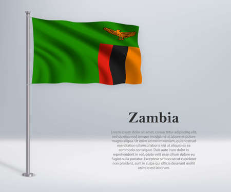 Waving flag of Zambia on flagpole. Template for independence day poster design
