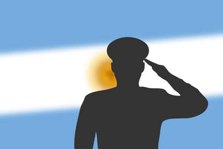 Solder silhouette on blur background with Argentina flag. Template for memorial day