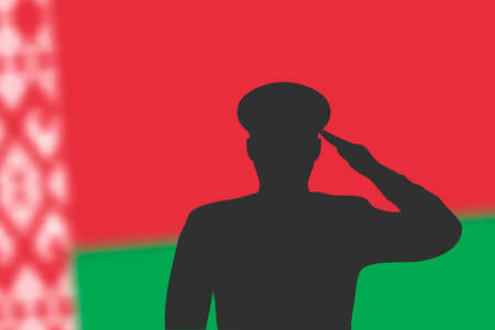 Solder silhouette on blur background with Belarus flag. Template for memorial day