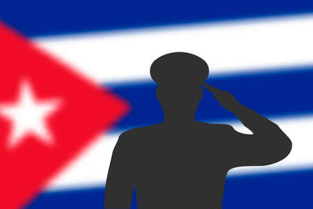 Solder silhouette on blur background with Cuba flag. Template for memorial day