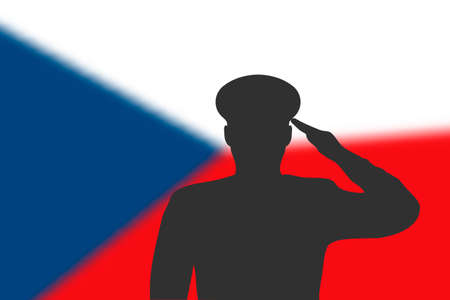 Solder silhouette on blur background with Czech flag. Template for memorial day