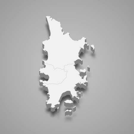 3d map of Phuket is a province of Thailand. Vector illustration