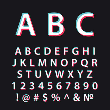 Glitch alphabet. Modern social media font Vettoriali