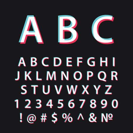 Glitch alphabet. Modern social media font Vektoros illusztráció