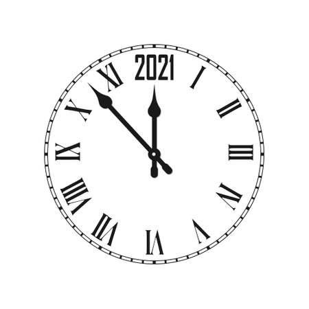 Happy New Year 2021 icon with clock