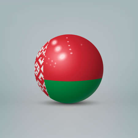 Realistic glossy plastic ball or sphere with flag of Belarus Ilustração
