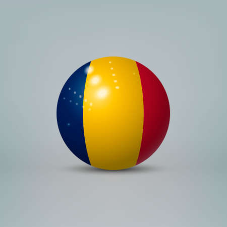 Realistic glossy plastic ball or sphere with flag of Chad