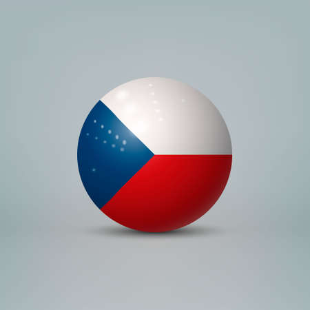 Realistic glossy plastic ball or sphere with flag of Czech Republic