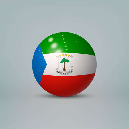 Realistic glossy plastic ball or sphere with flag of Equatorial Guinea