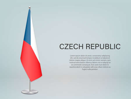Czech Republic hanging flag on stand. Template for politic conference banner