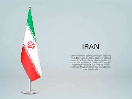 Iran hanging flag on stand. Template for politic conference banner